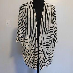 Lane Bryant Zebra Print Open Cardigan Lightweight